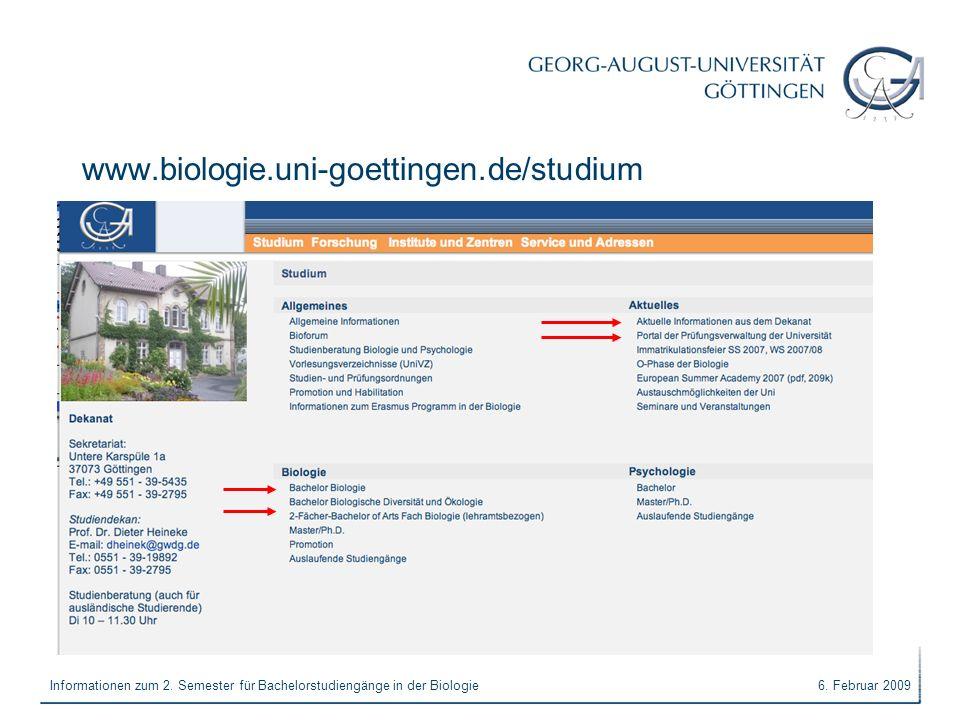 www.biologie.uni-goettingen.de/studium Informationen zum 2. Semester für Bachelorstudiengänge in der Biologie.