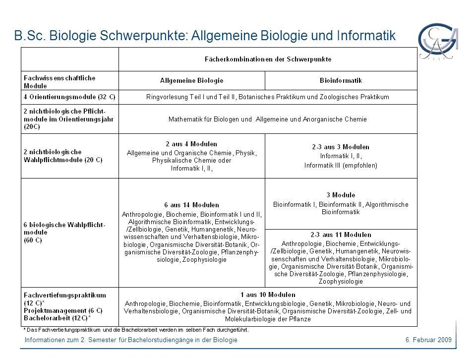 B.Sc. Biologie Schwerpunkte: Allgemeine Biologie und Informatik