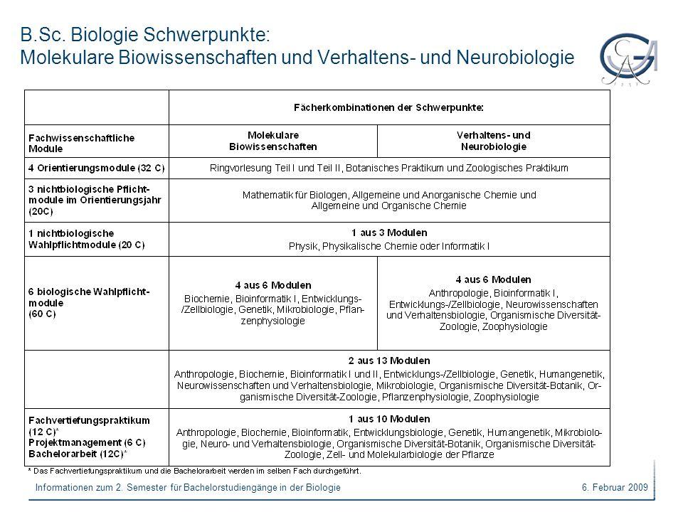 B.Sc. Biologie Schwerpunkte: Molekulare Biowissenschaften und Verhaltens- und Neurobiologie