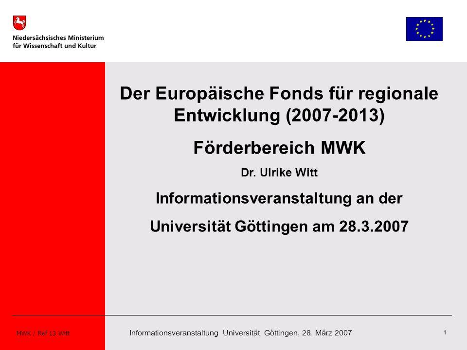 Der Europäische Fonds für regionale Entwicklung (2007-2013)