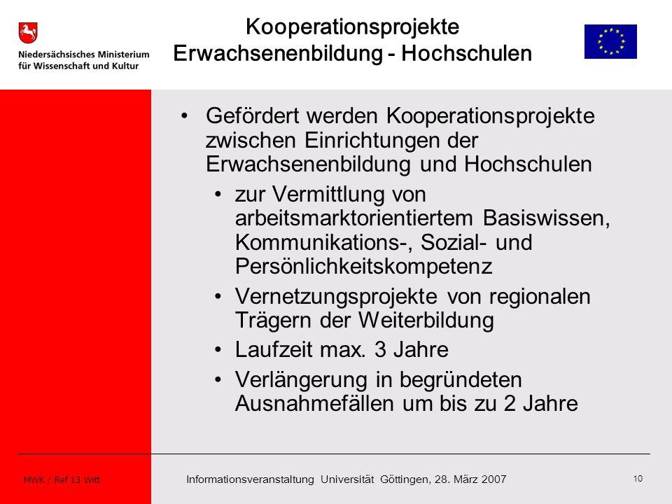 Kooperationsprojekte Erwachsenenbildung - Hochschulen
