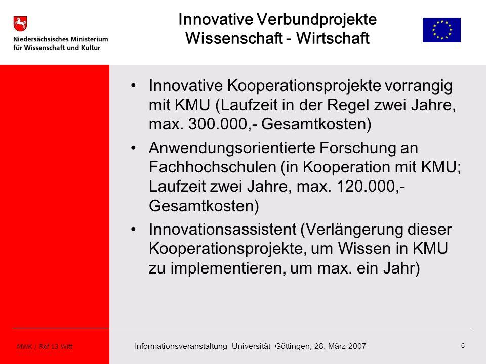 Innovative Verbundprojekte Wissenschaft - Wirtschaft