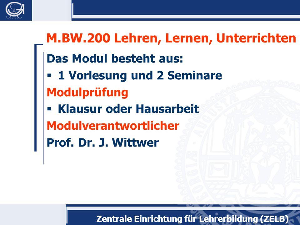 M.BW.200 Lehren, Lernen, Unterrichten