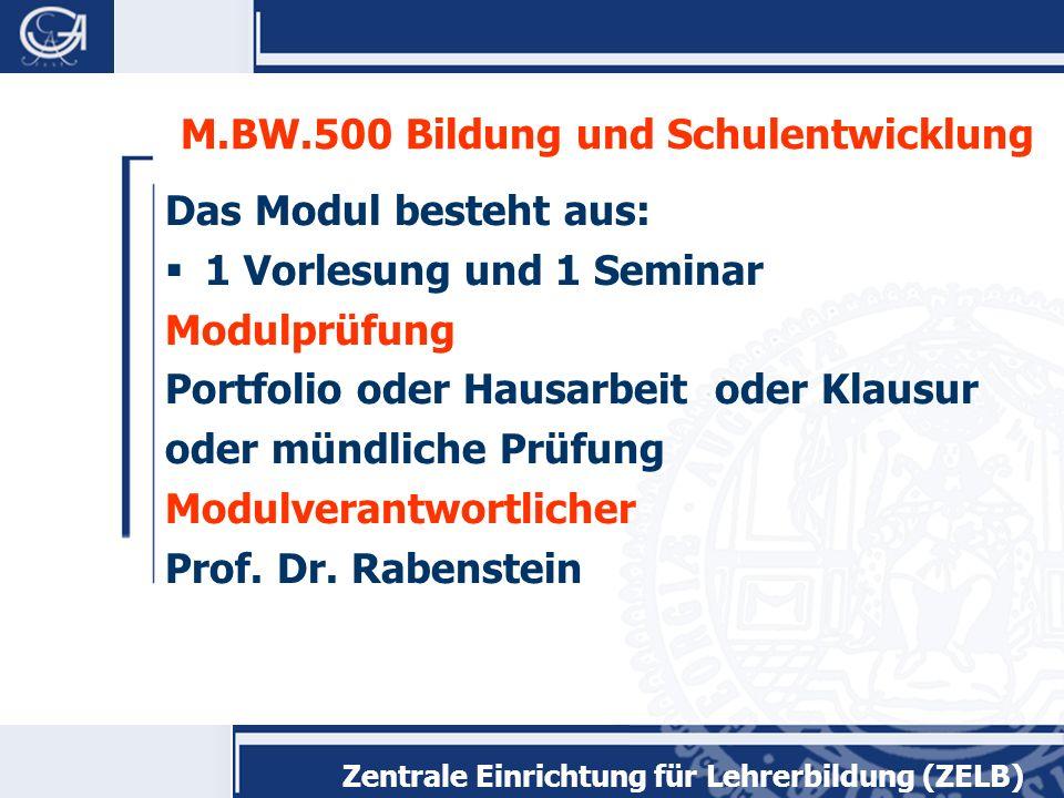 M.BW.500 Bildung und Schulentwicklung