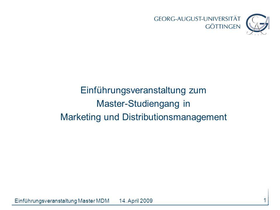 Einführungsveranstaltung zum Master-Studiengang in Marketing und Distributionsmanagement