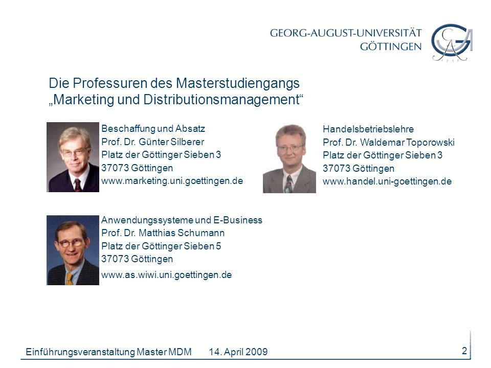"Die Professuren des Masterstudiengangs ""Marketing und Distributionsmanagement"