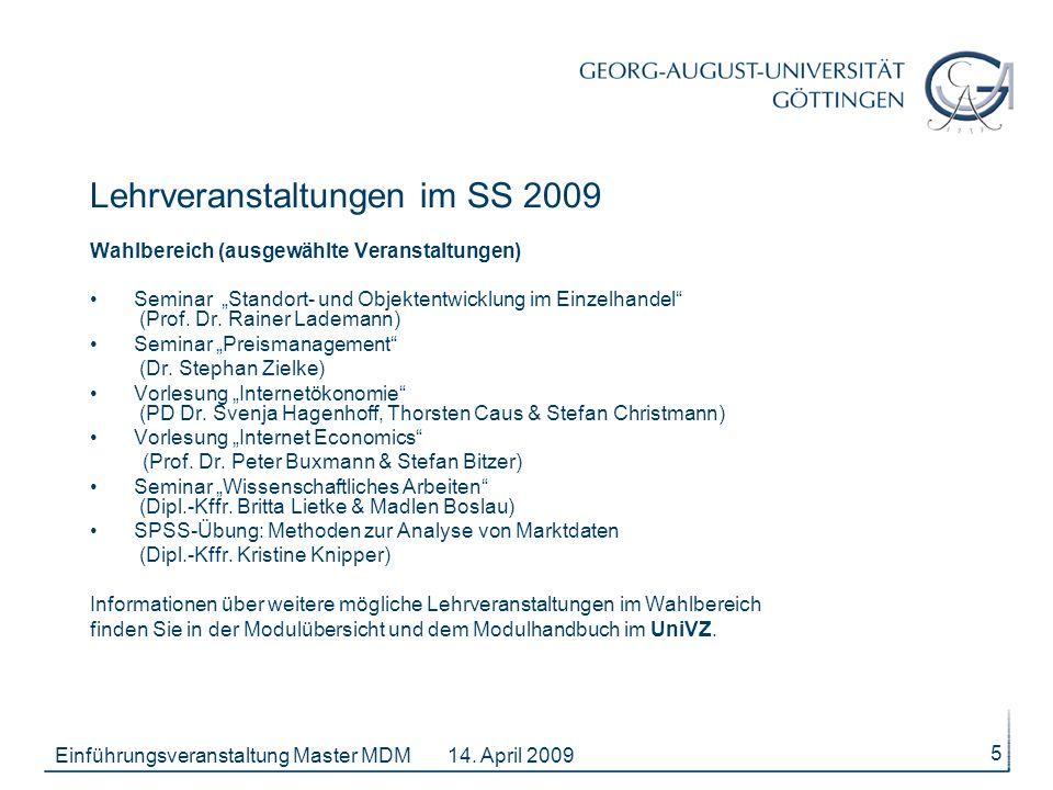 Lehrveranstaltungen im SS 2009