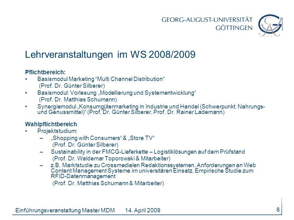 Lehrveranstaltungen im WS 2008/2009
