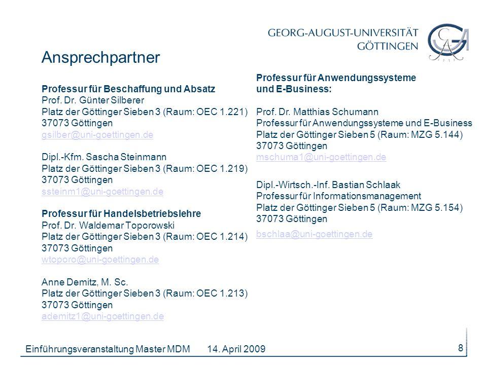 Ansprechpartner Professur für Beschaffung und Absatz