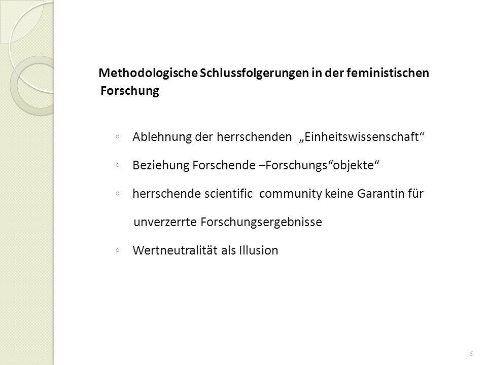 Methodologische Schlussfolgerungen in der feministischen Forschung