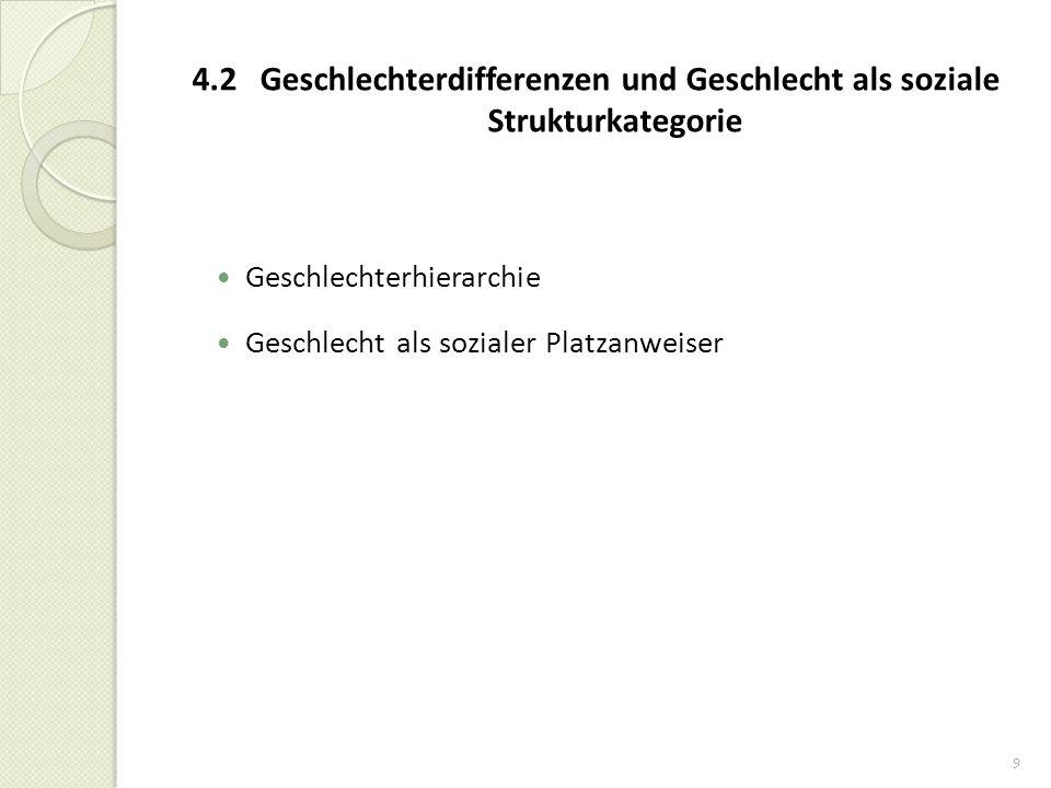 4.2 Geschlechterdifferenzen und Geschlecht als soziale Strukturkategorie