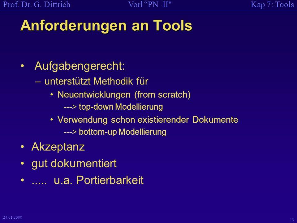 Anforderungen an Tools