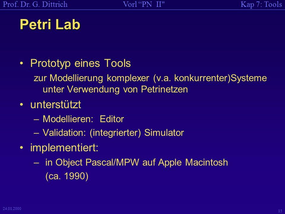 Petri Lab Prototyp eines Tools unterstützt implementiert: