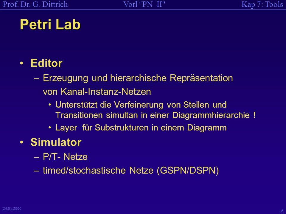 Petri Lab Editor Simulator Erzeugung und hierarchische Repräsentation