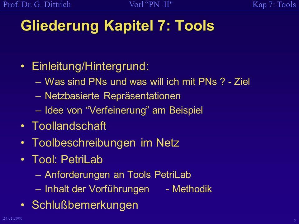Gliederung Kapitel 7: Tools