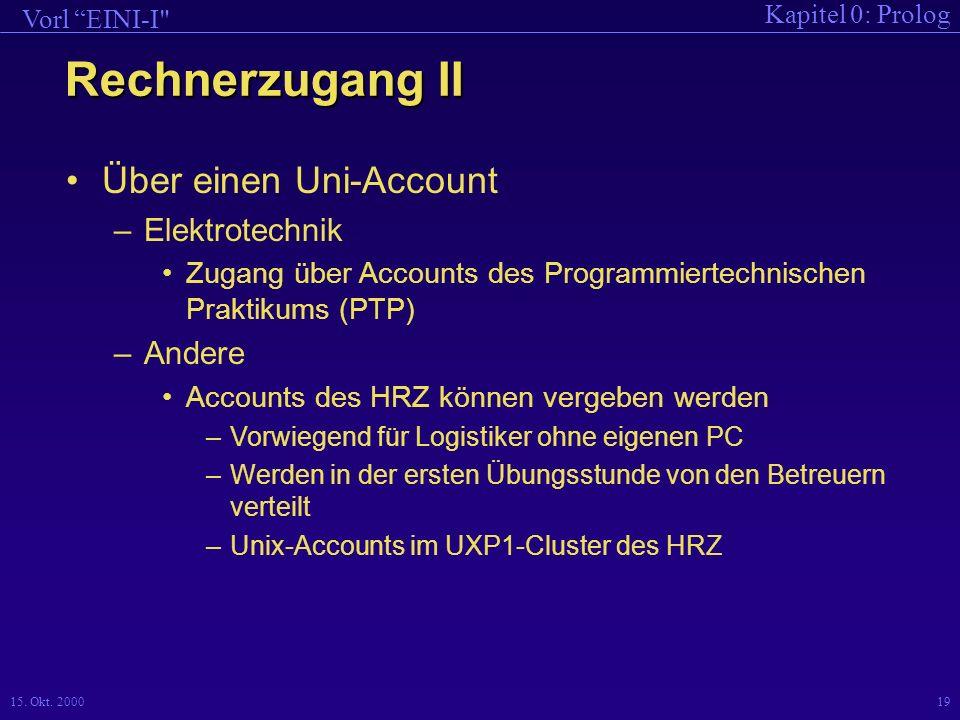 Rechnerzugang II Über einen Uni-Account Elektrotechnik Andere