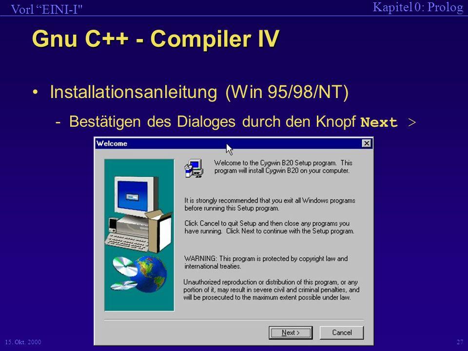 Gnu C++ - Compiler IV Installationsanleitung (Win 95/98/NT)