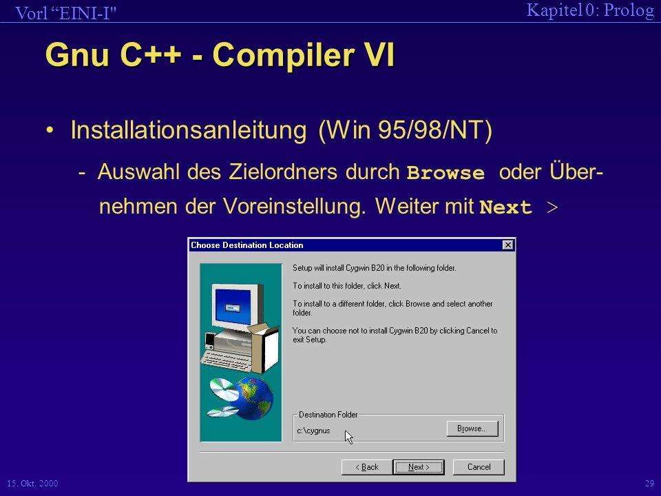 Gnu C++ - Compiler VI Installationsanleitung (Win 95/98/NT)