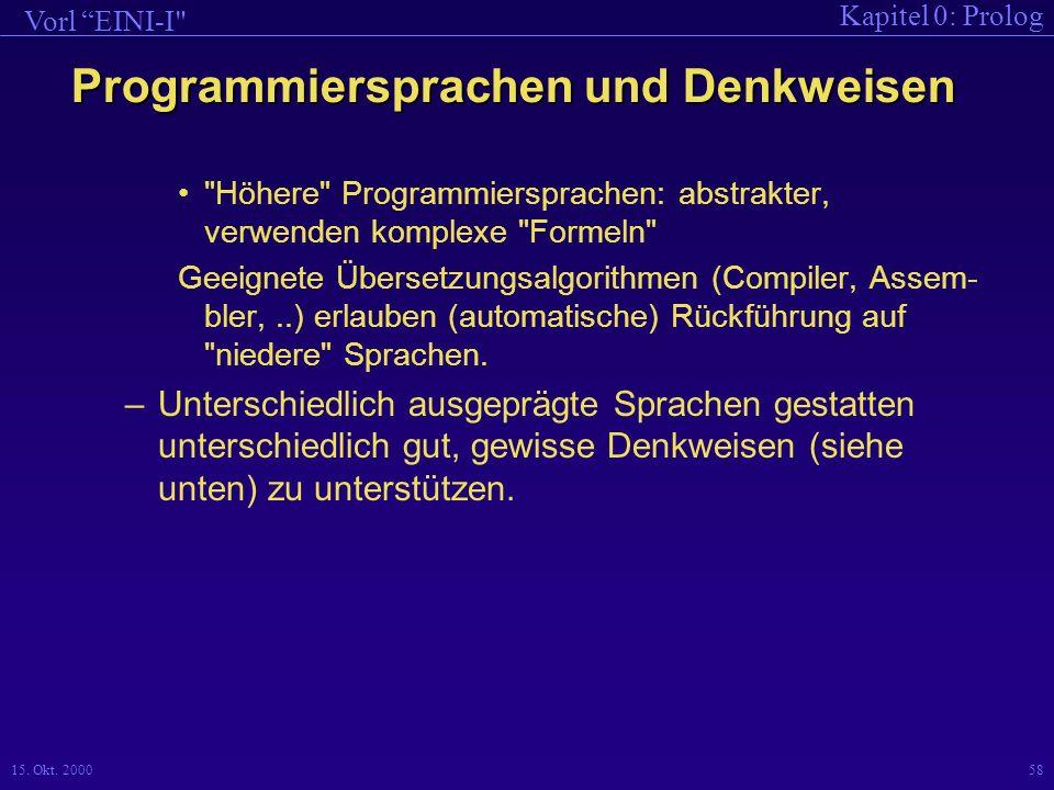 Programmiersprachen und Denkweisen
