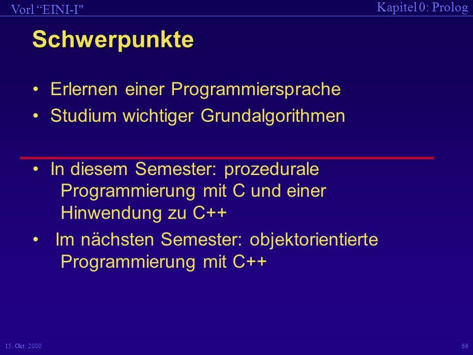 Schwerpunkte Erlernen einer Programmiersprache