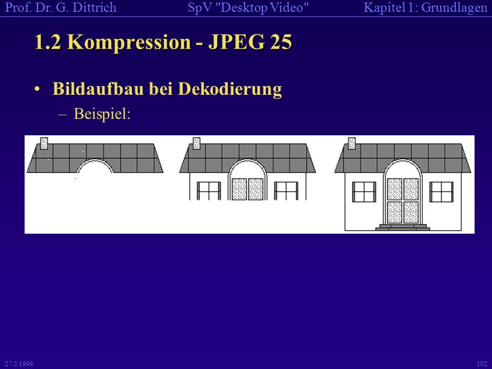 1.2 Kompression - JPEG 25 Bildaufbau bei Dekodierung Beispiel: