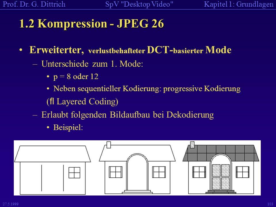 1.2 Kompression - JPEG 26 Erweiterter, verlustbehafteter DCT-basierter Mode. Unterschiede zum 1. Mode: