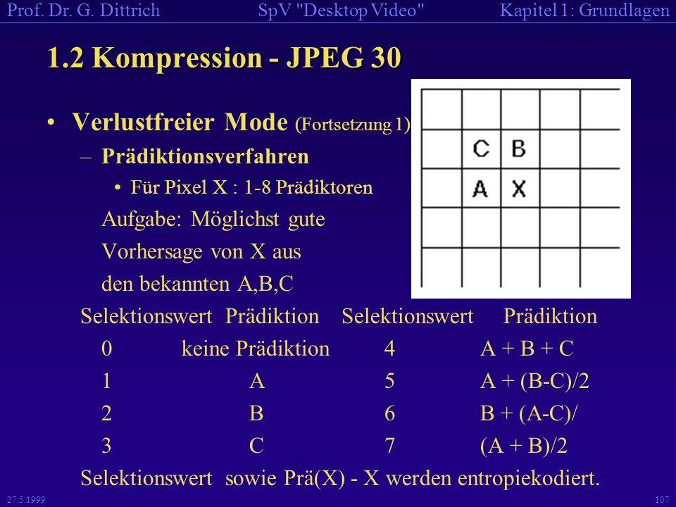 1.2 Kompression - JPEG 30 Verlustfreier Mode (Fortsetzung 1)