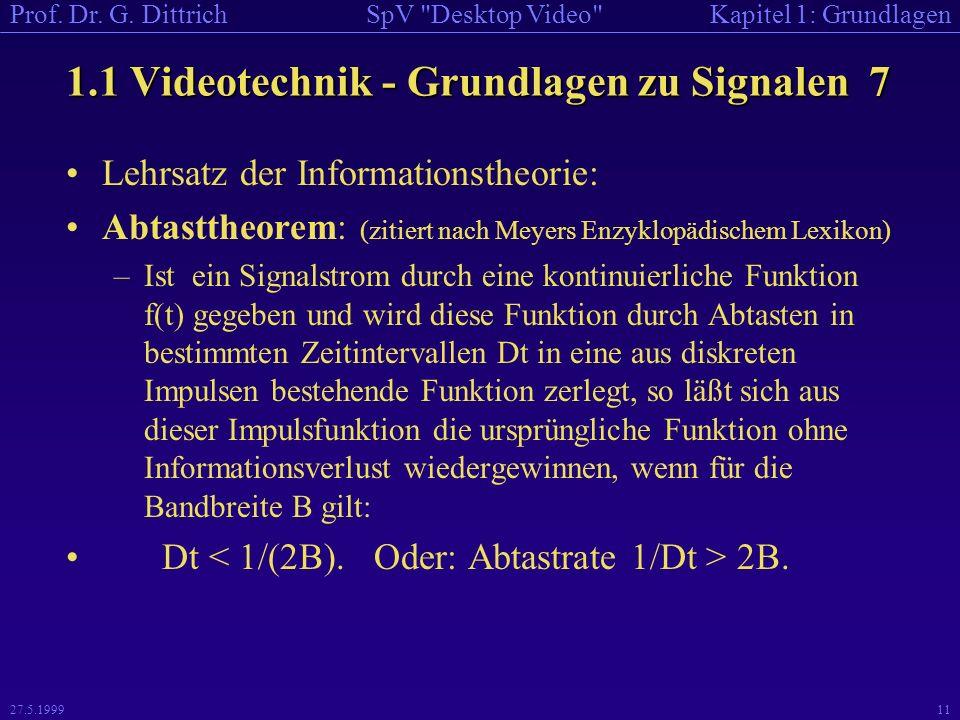 1.1 Videotechnik - Grundlagen zu Signalen 7