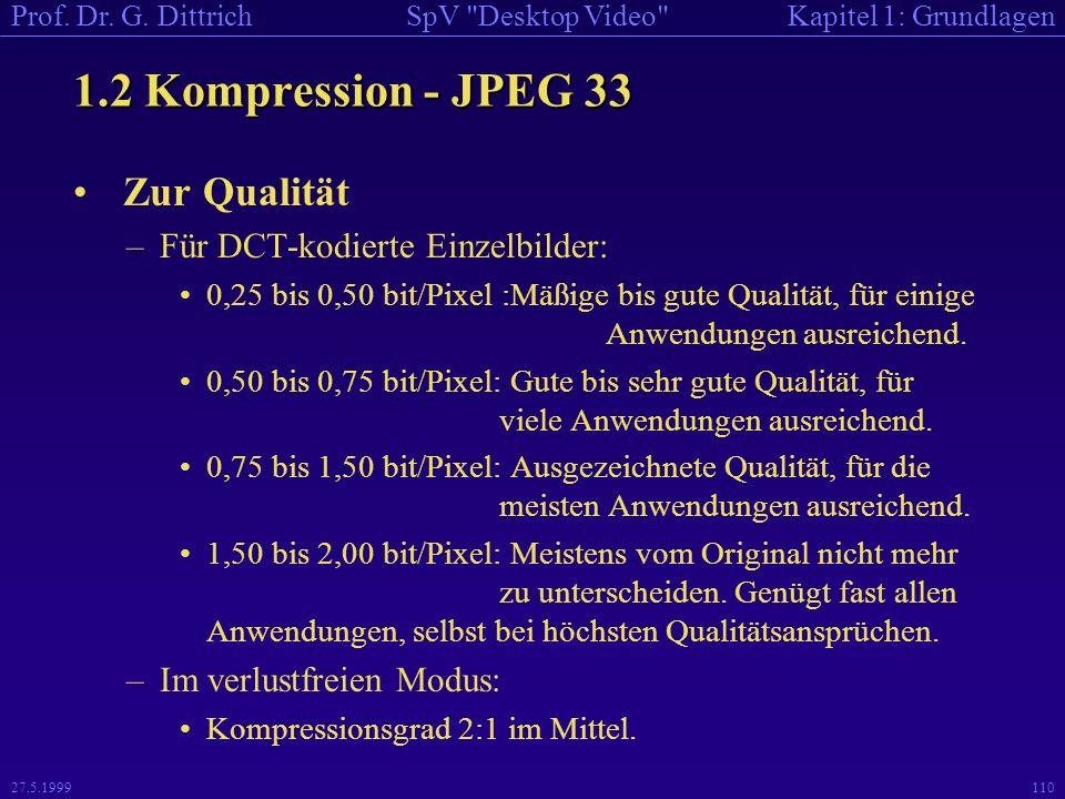 1.2 Kompression - JPEG 33 Zur Qualität Für DCT-kodierte Einzelbilder: