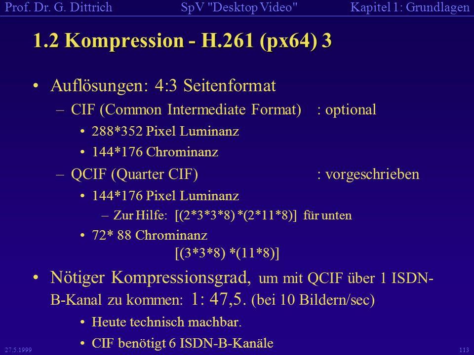 1.2 Kompression - H.261 (px64) 3 Auflösungen: 4:3 Seitenformat