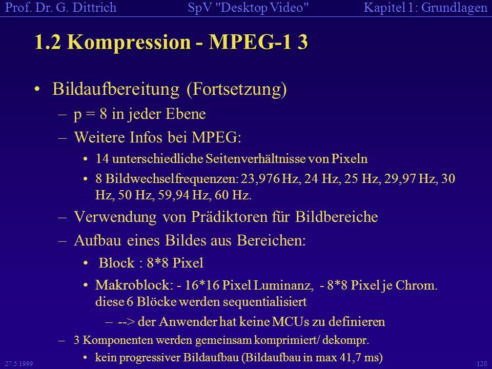 1.2 Kompression - MPEG-1 3 Bildaufbereitung (Fortsetzung)