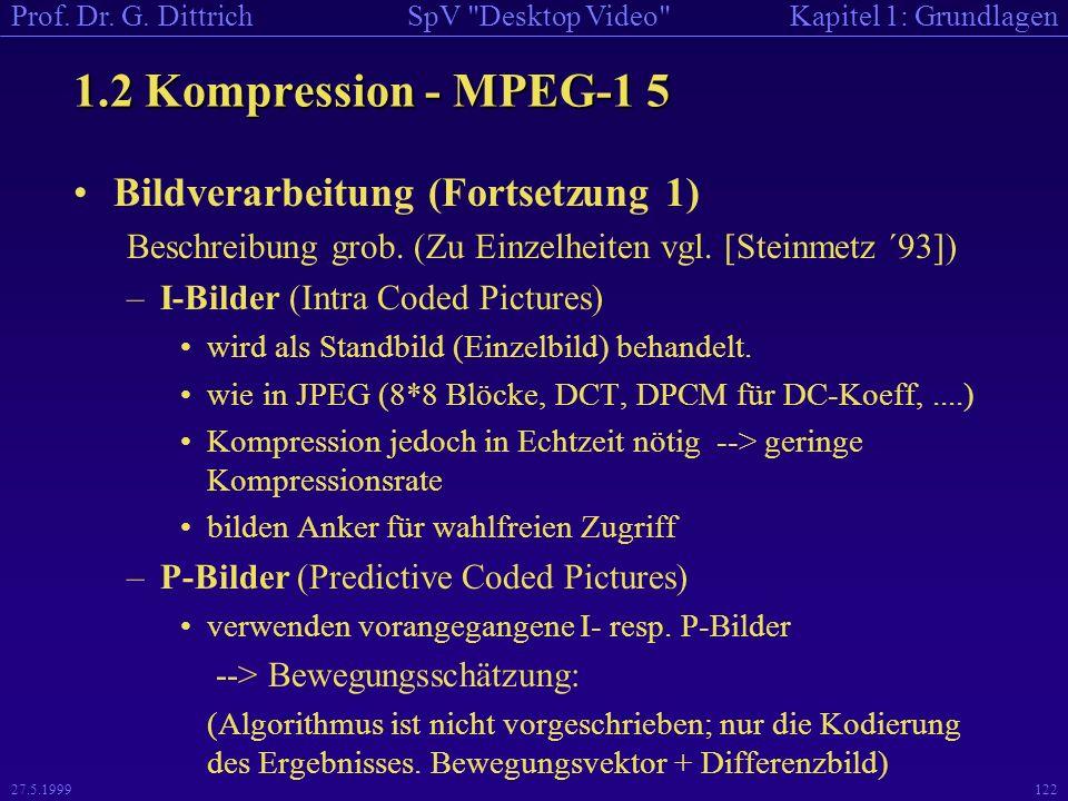 1.2 Kompression - MPEG-1 5 Bildverarbeitung (Fortsetzung 1)