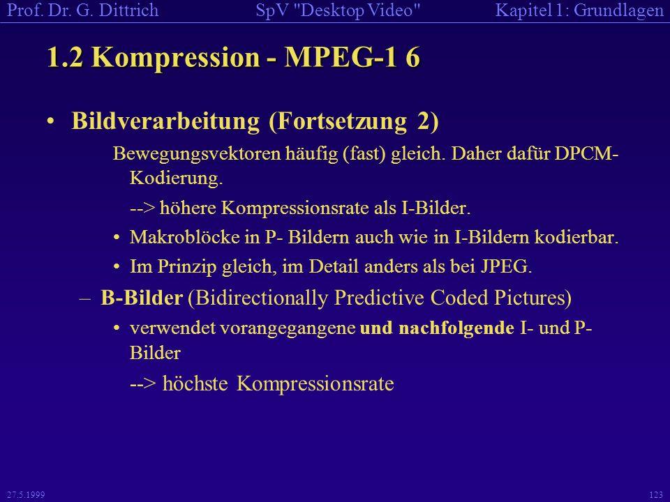 1.2 Kompression - MPEG-1 6 Bildverarbeitung (Fortsetzung 2)