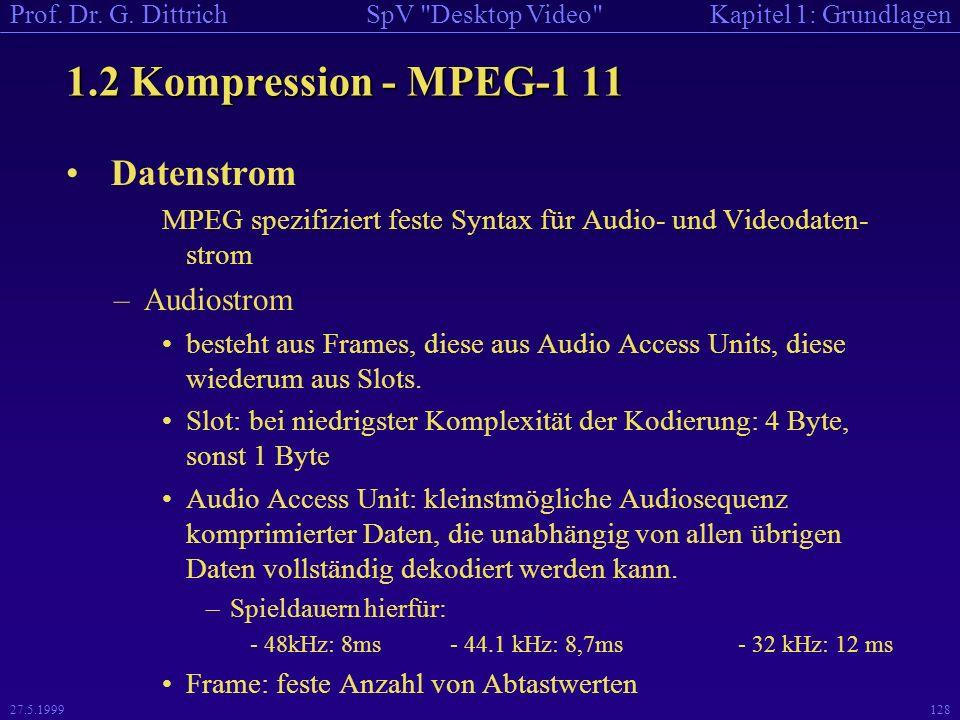 1.2 Kompression - MPEG-1 11 Datenstrom Audiostrom