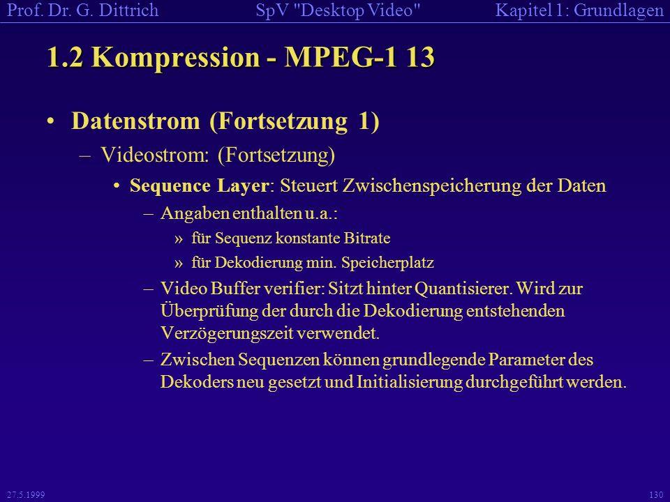 1.2 Kompression - MPEG-1 13 Datenstrom (Fortsetzung 1)