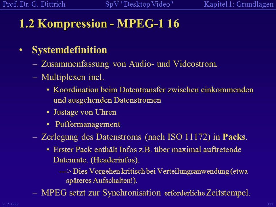 1.2 Kompression - MPEG-1 16 Systemdefinition