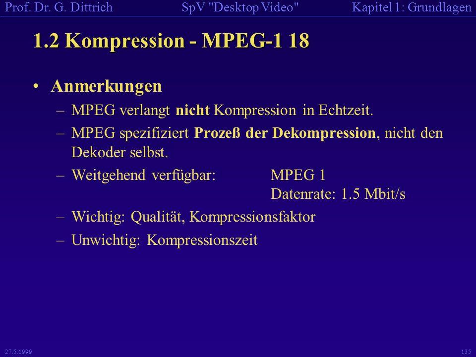 1.2 Kompression - MPEG-1 18 Anmerkungen