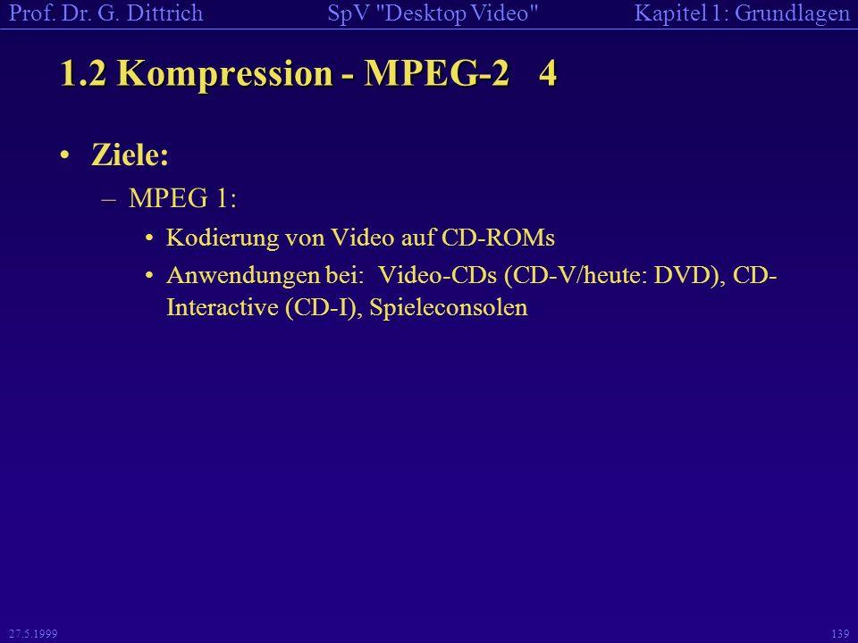 1.2 Kompression - MPEG-2 4 Ziele: MPEG 1: