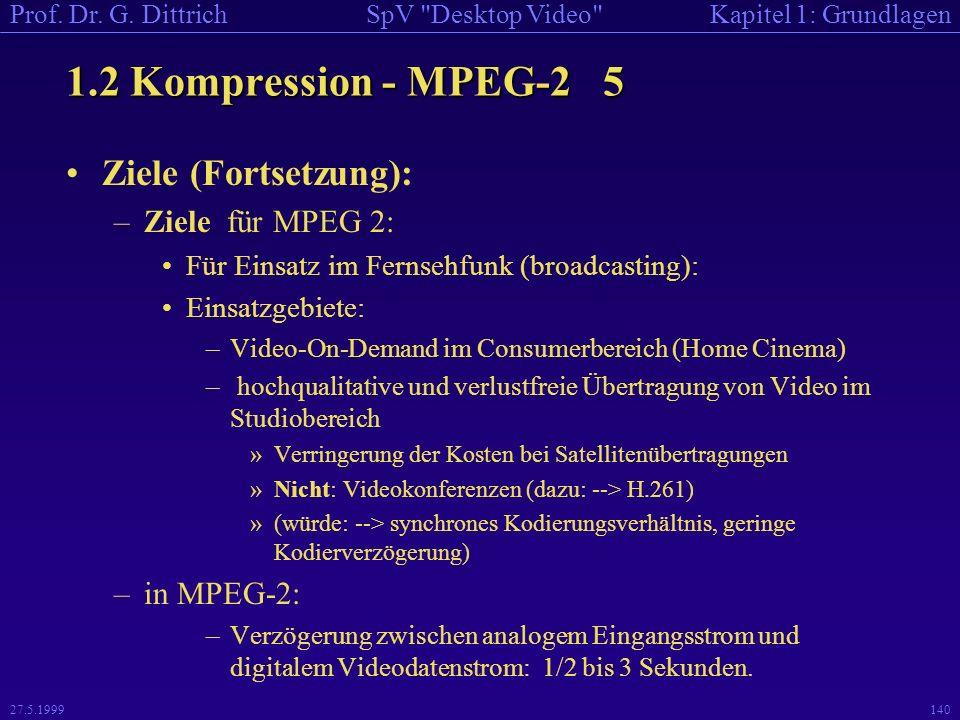 1.2 Kompression - MPEG-2 5 Ziele (Fortsetzung): Ziele für MPEG 2: