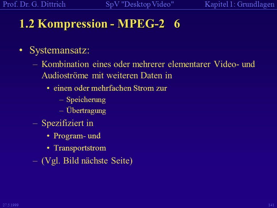 1.2 Kompression - MPEG-2 6 Systemansatz: