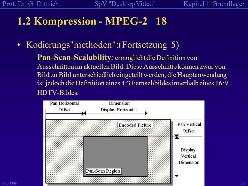 1.2 Kompression - MPEG-2 18 Kodierungs methoden :(Fortsetzung 5)