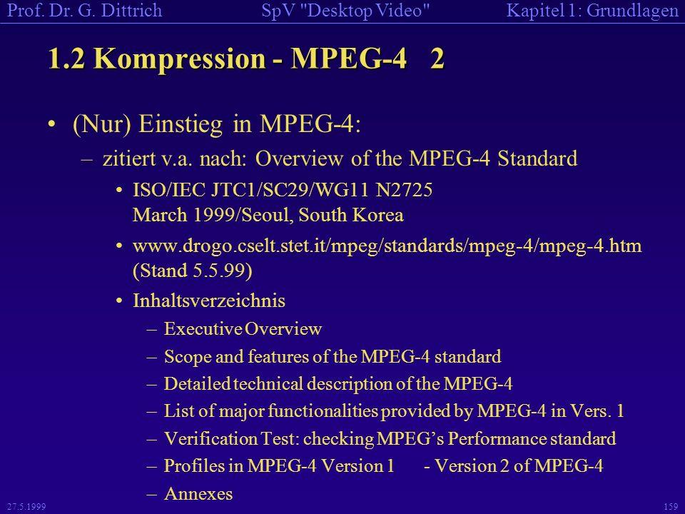 1.2 Kompression - MPEG-4 2 (Nur) Einstieg in MPEG-4: