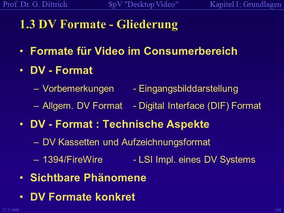 1.3 DV Formate - Gliederung