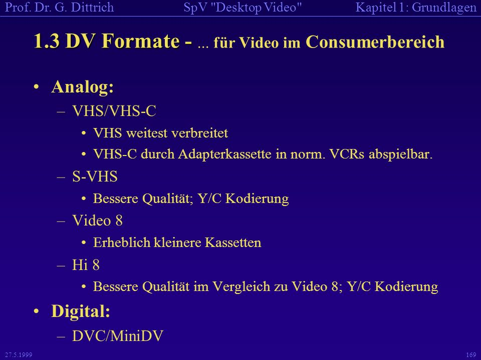1.3 DV Formate - ... für Video im Consumerbereich