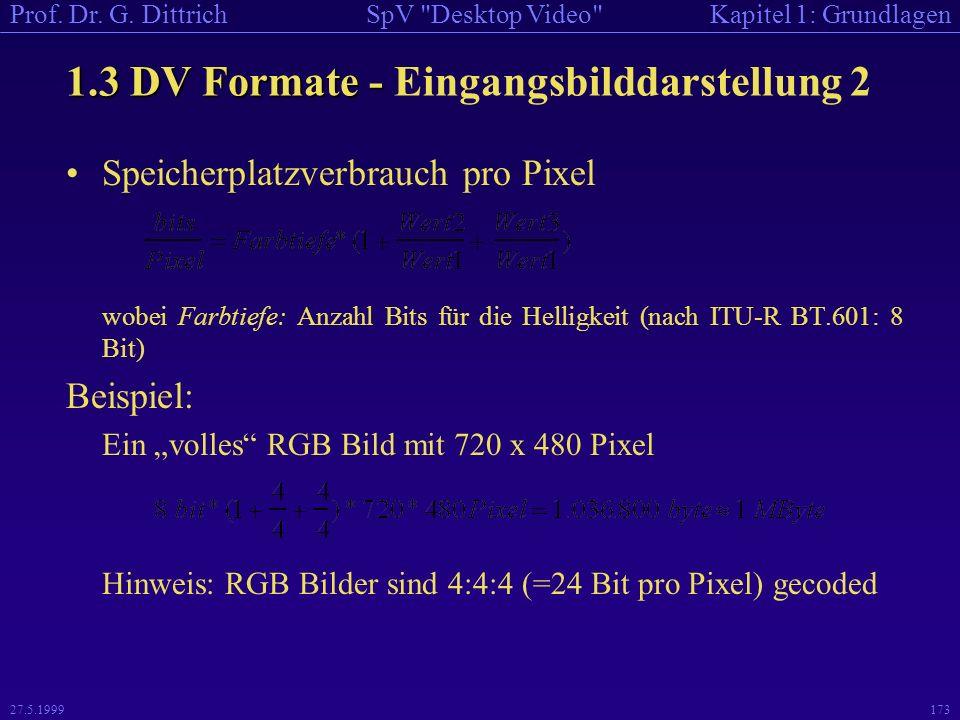 1.3 DV Formate - Eingangsbilddarstellung 2