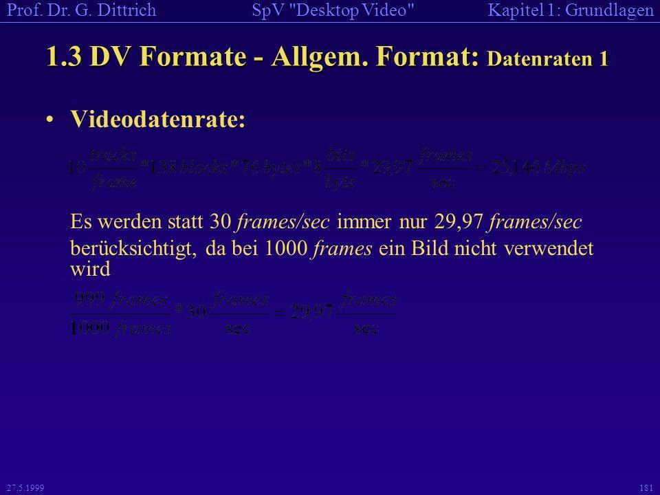 1.3 DV Formate - Allgem. Format: Datenraten 1