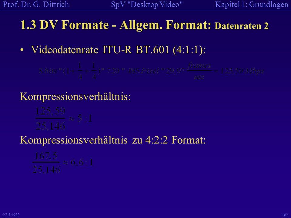 1.3 DV Formate - Allgem. Format: Datenraten 2