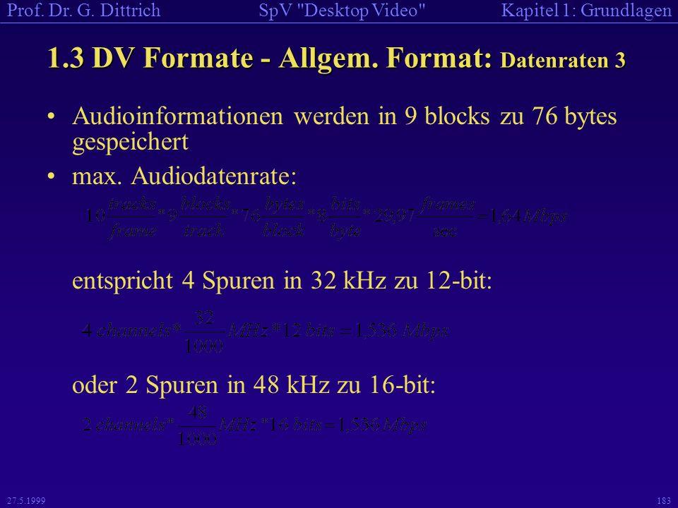 1.3 DV Formate - Allgem. Format: Datenraten 3