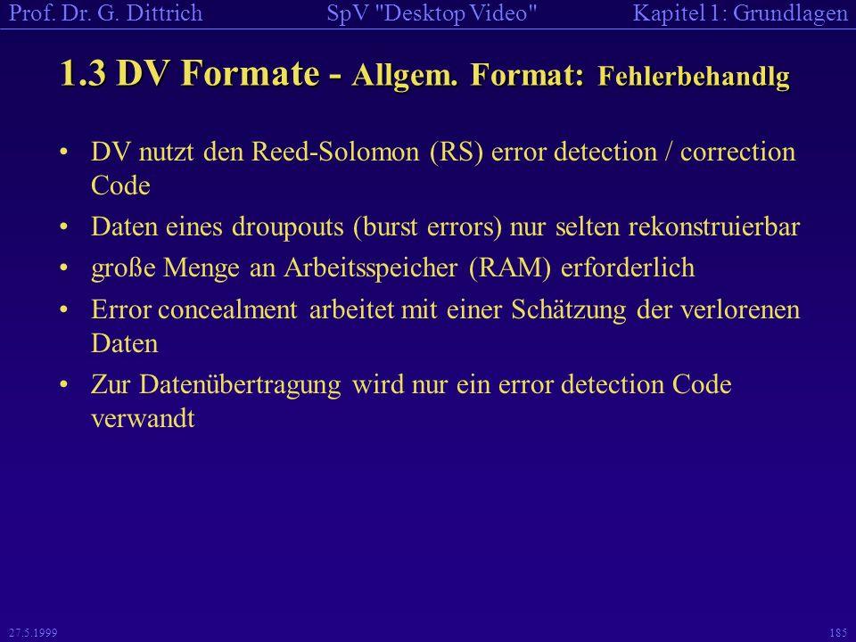 1.3 DV Formate - Allgem. Format: Fehlerbehandlg