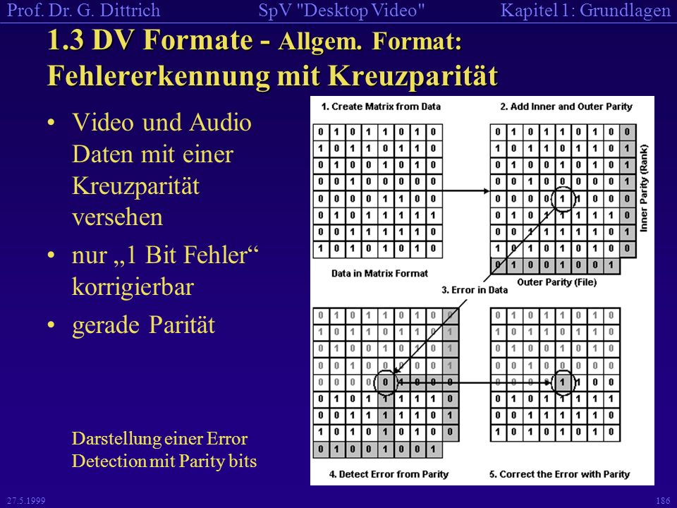 1.3 DV Formate - Allgem. Format: Fehlererkennung mit Kreuzparität